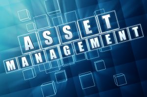 asset management - text in 3d blue glass cubes with white letters business financial operation concept