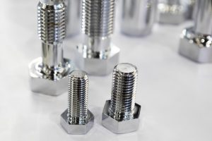 the small bolts for industrial machine ; selective focus